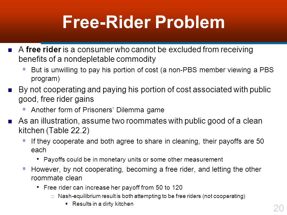 Free-Rider Problem A free rider is a consumer who cannot be excluded from receiving benefits of a nondepletable commodity.