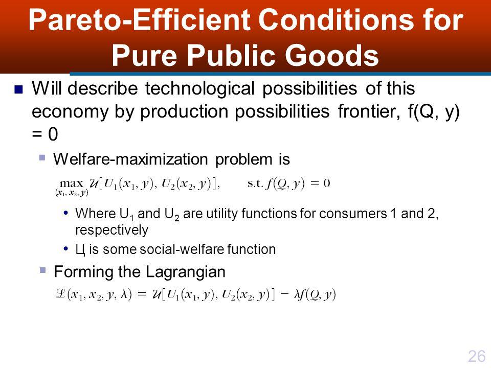 Pareto-Efficient Conditions for Pure Public Goods
