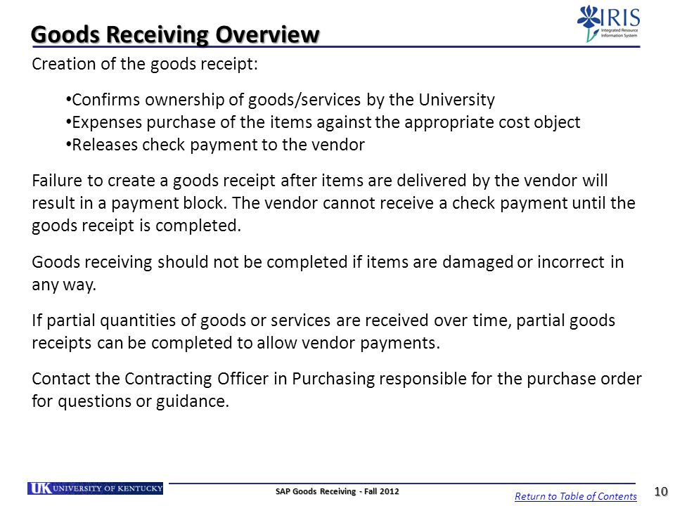 Goods Receiving Overview
