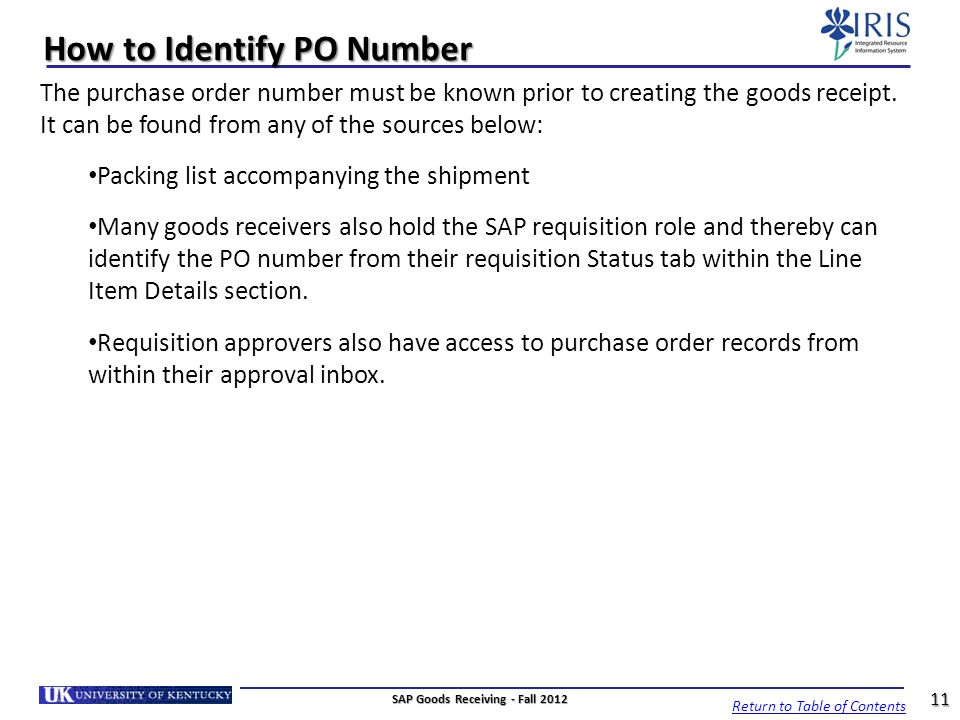 How to Identify PO Number