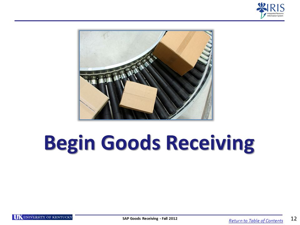 SAP Goods Receiving - Fall 2012