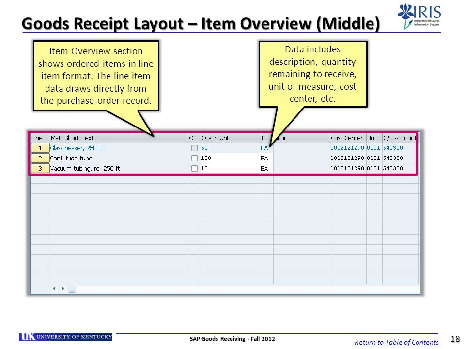 Goods Receipt Layout – Item Overview (Middle)