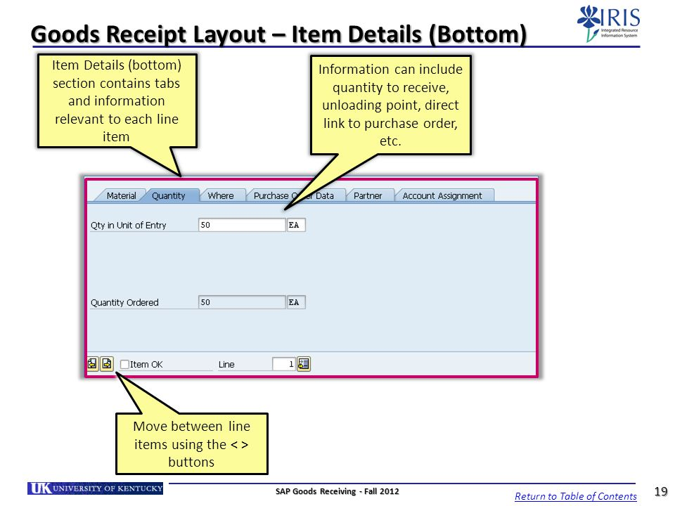 Goods Receipt Layout – Item Details (Bottom)