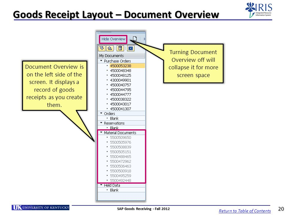 Goods Receipt Layout – Document Overview