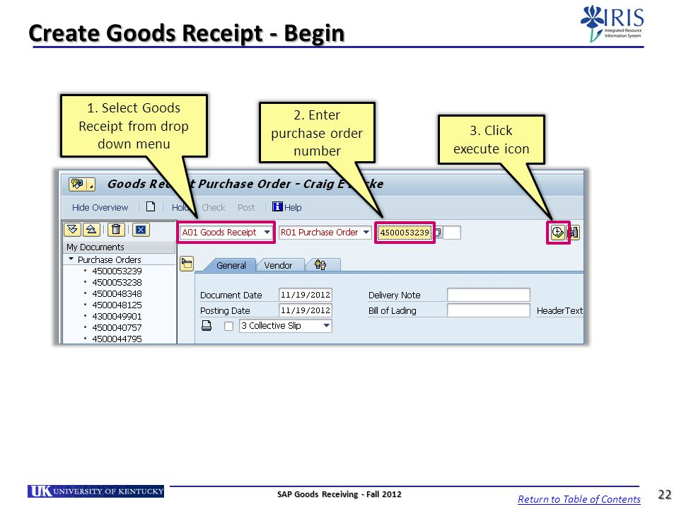 Create Goods Receipt - Begin