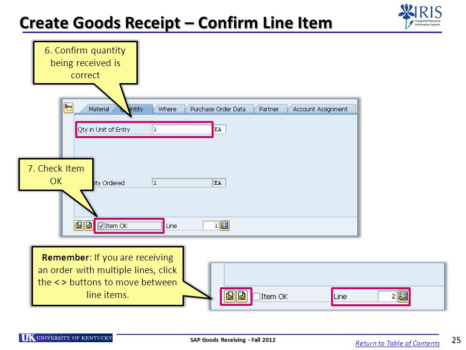 Create Goods Receipt – Confirm Line Item