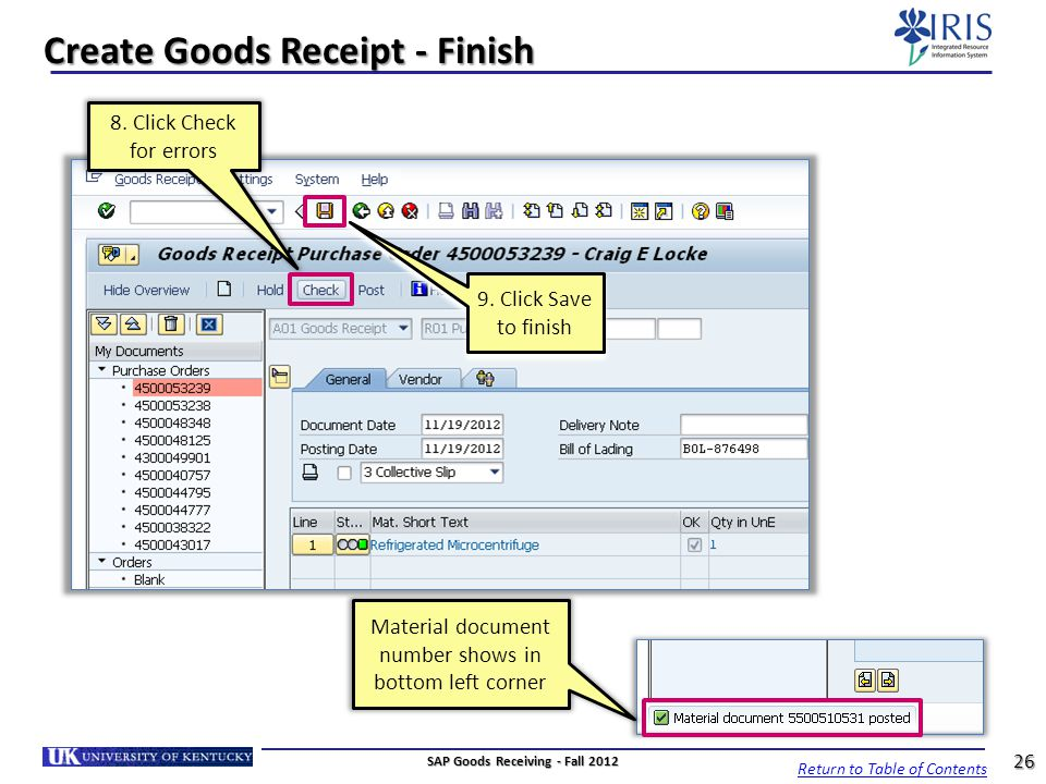 Create Goods Receipt - Finish
