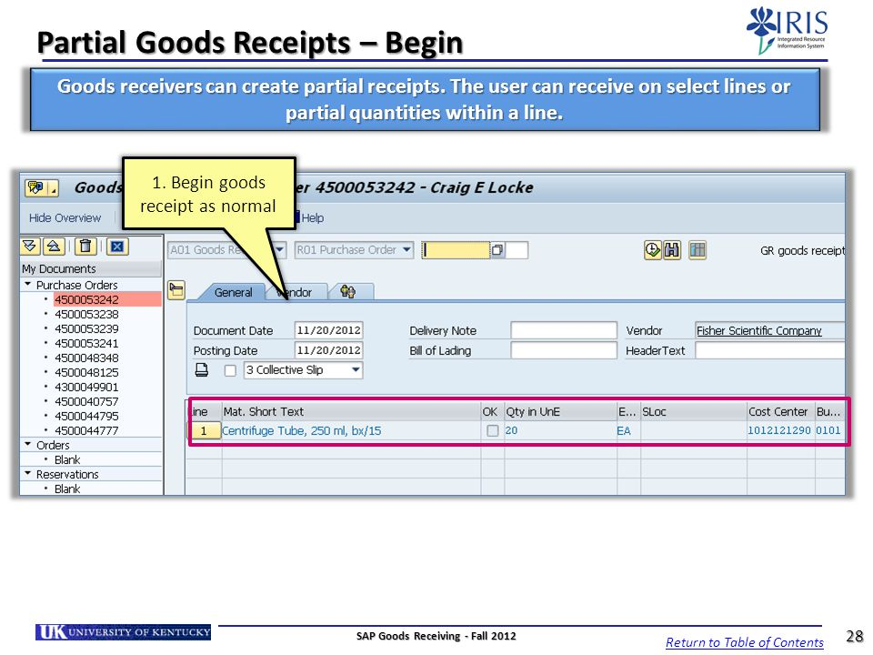 Partial Goods Receipts – Begin