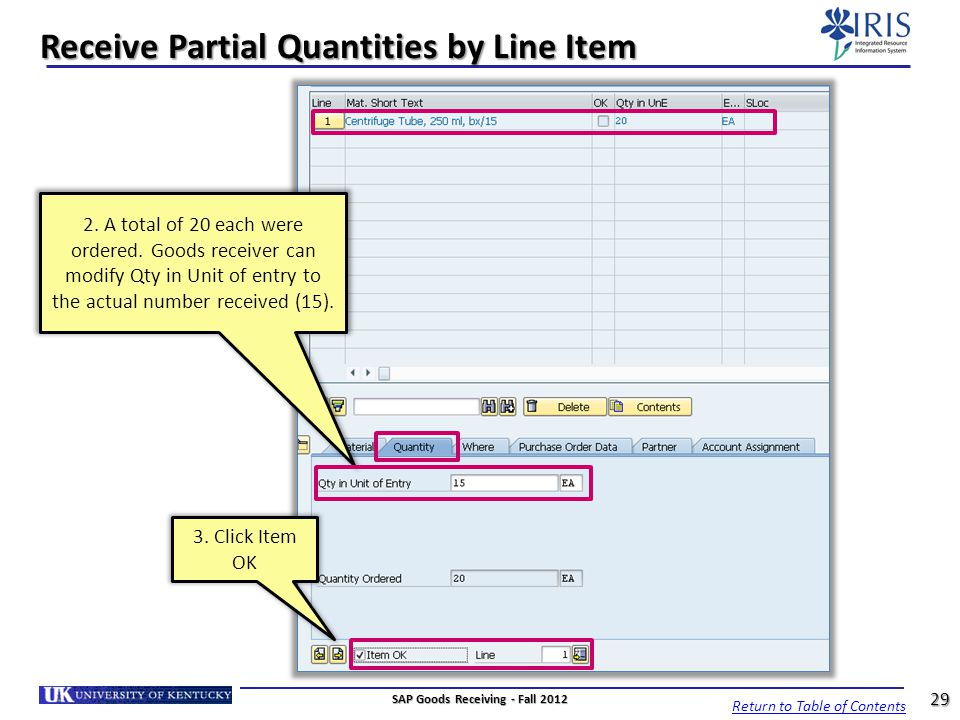 Receive Partial Quantities by Line Item