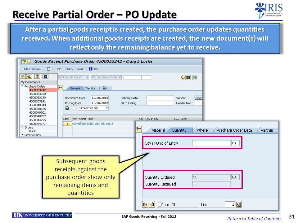 Receive Partial Order – PO Update