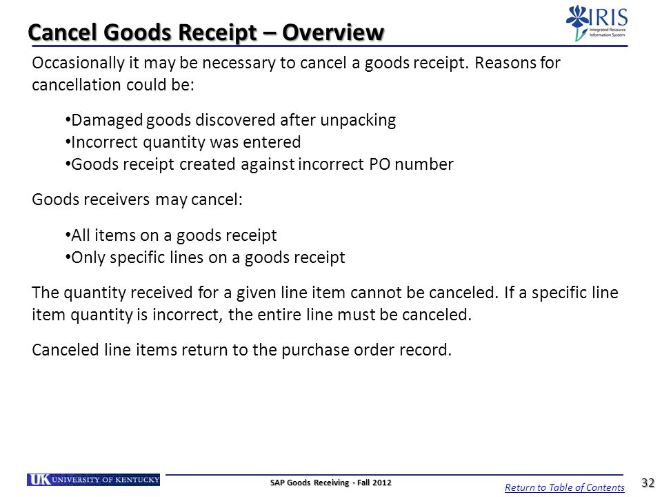 Cancel Goods Receipt – Overview