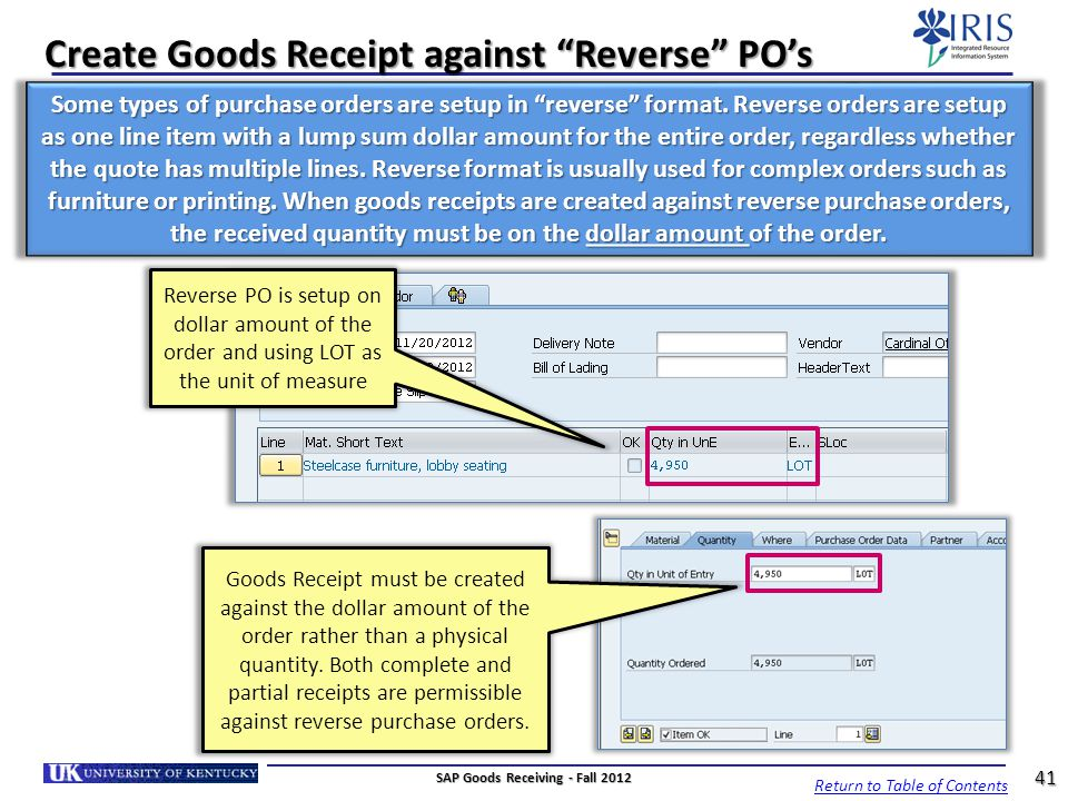 Create Goods Receipt against Reverse PO's
