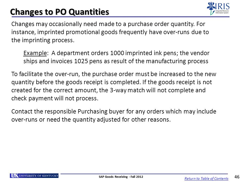 Changes to PO Quantities