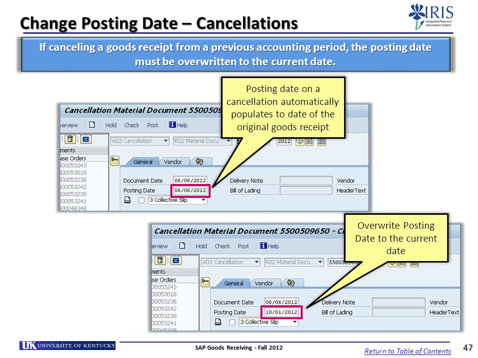 Change Posting Date – Cancellations
