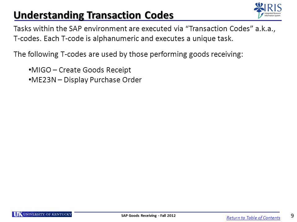 Understanding Transaction Codes