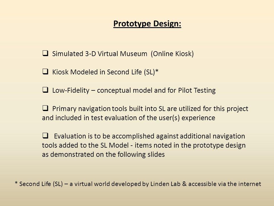 Prototype Design: Simulated 3-D Virtual Museum (Online Kiosk)