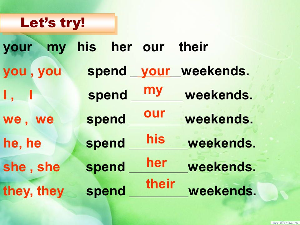 your my his her our their you , you spend your weekends.