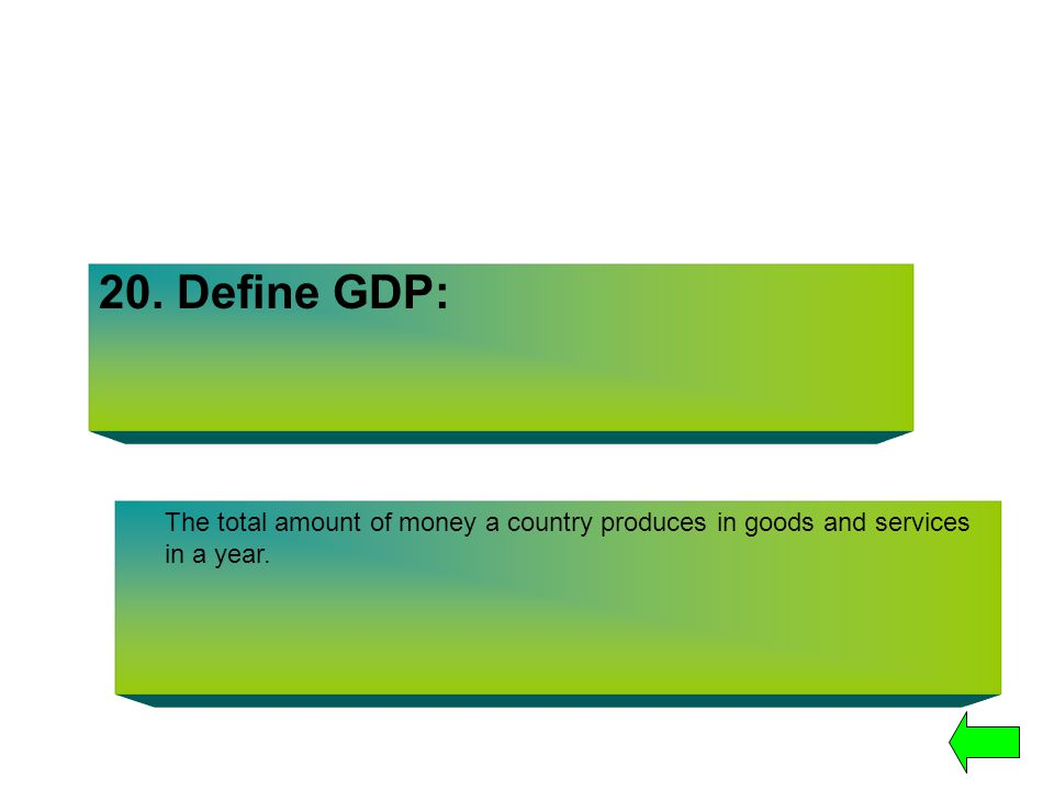 20. Define GDP: The total amount of money a country produces in goods and services in a year.