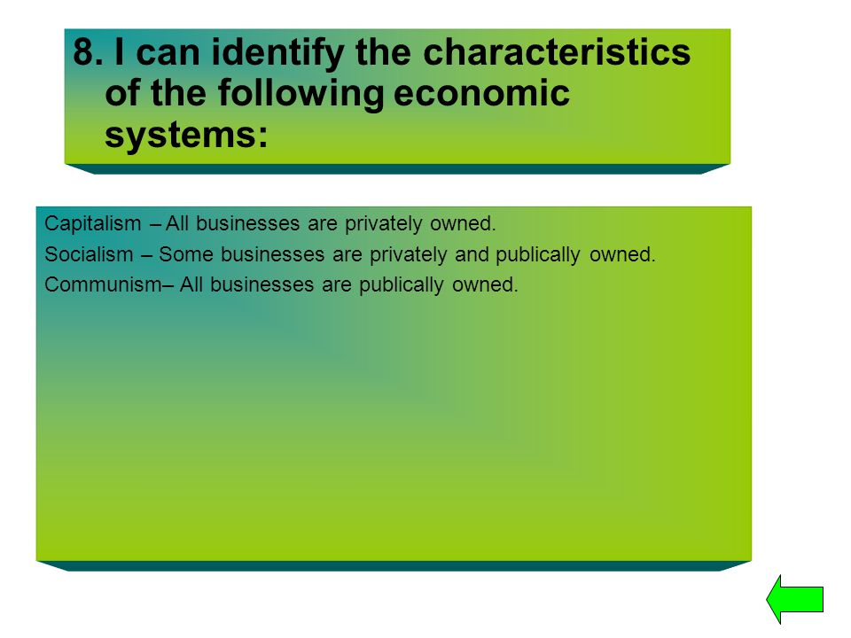 8. I can identify the characteristics of the following economic systems:
