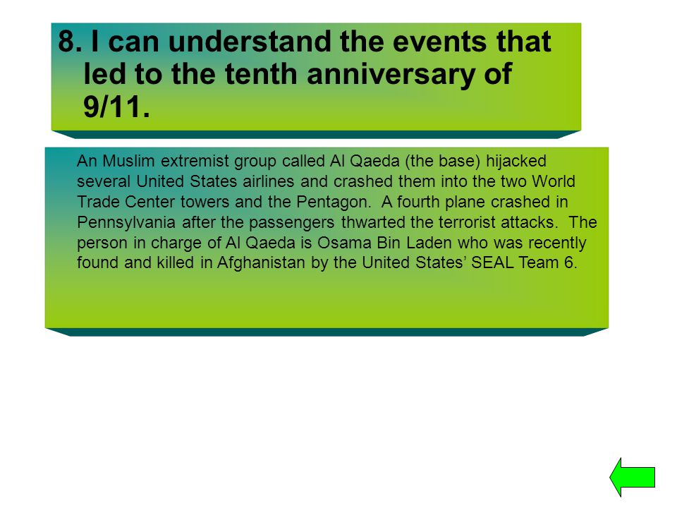 8. I can understand the events that led to the tenth anniversary of 9/11.