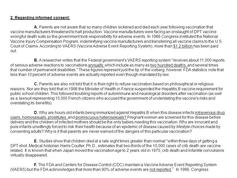 2. Regarding informed consent: