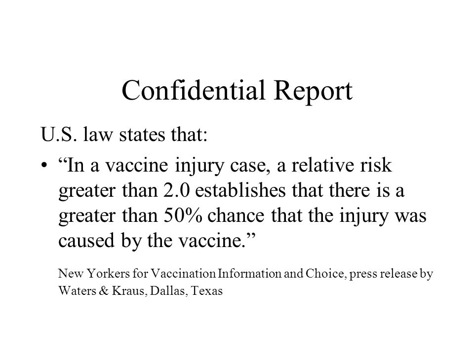 Confidential Report U.S. law states that: