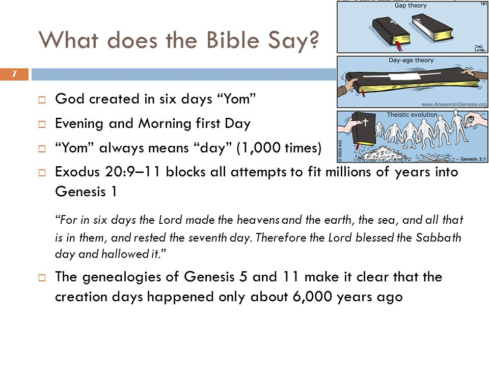 What does the Bible Say God created in six days Yom Evening and Morning first Day. Yom always means day (1,000 times)