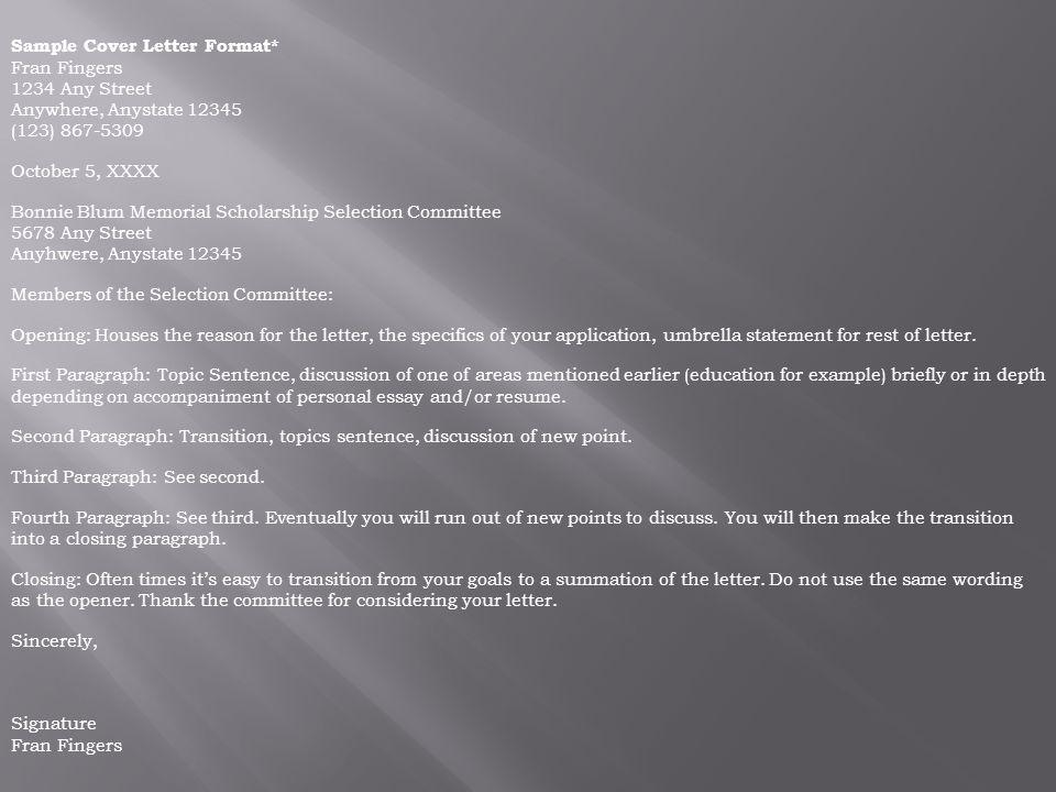 Sample Cover Letter Format*