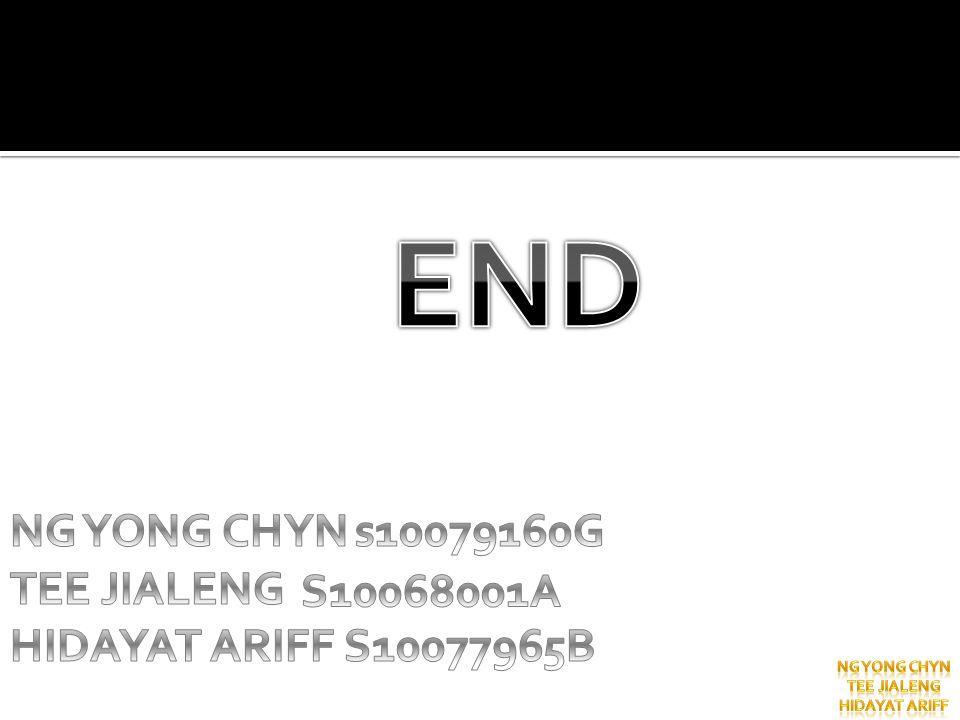 END NG YONG CHYN TEE JIALENG HIDAYAT ARIFF S10077965B s10079160G