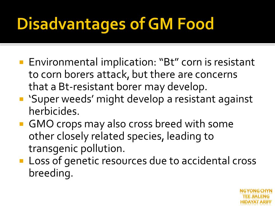 Disadvantages of GM Food