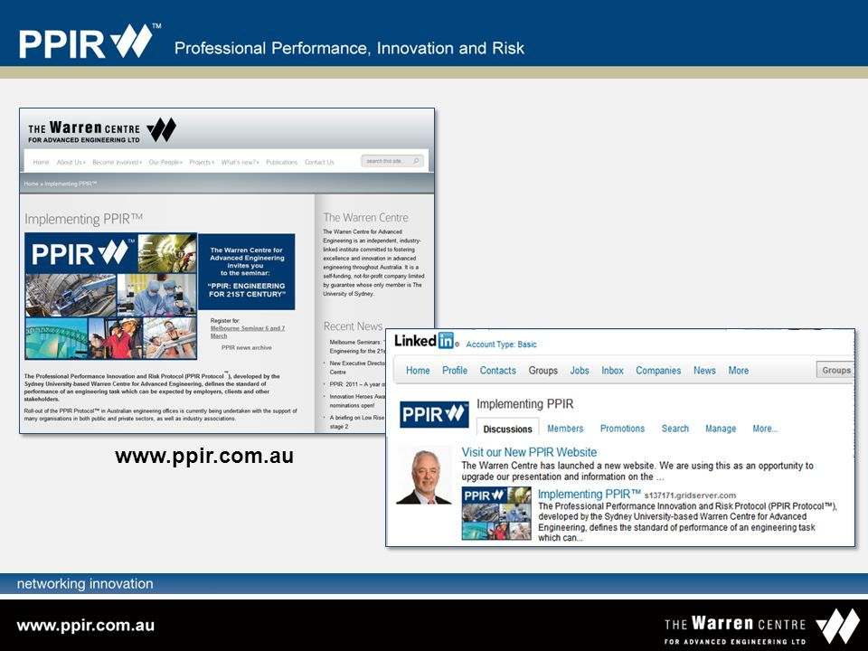 www.ppir.com.au The implementation of PPIR is not being mandated by law or direction from any authority.