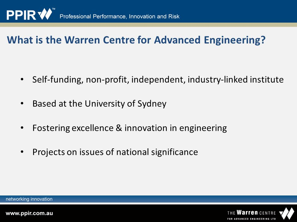 What is the Warren Centre for Advanced Engineering