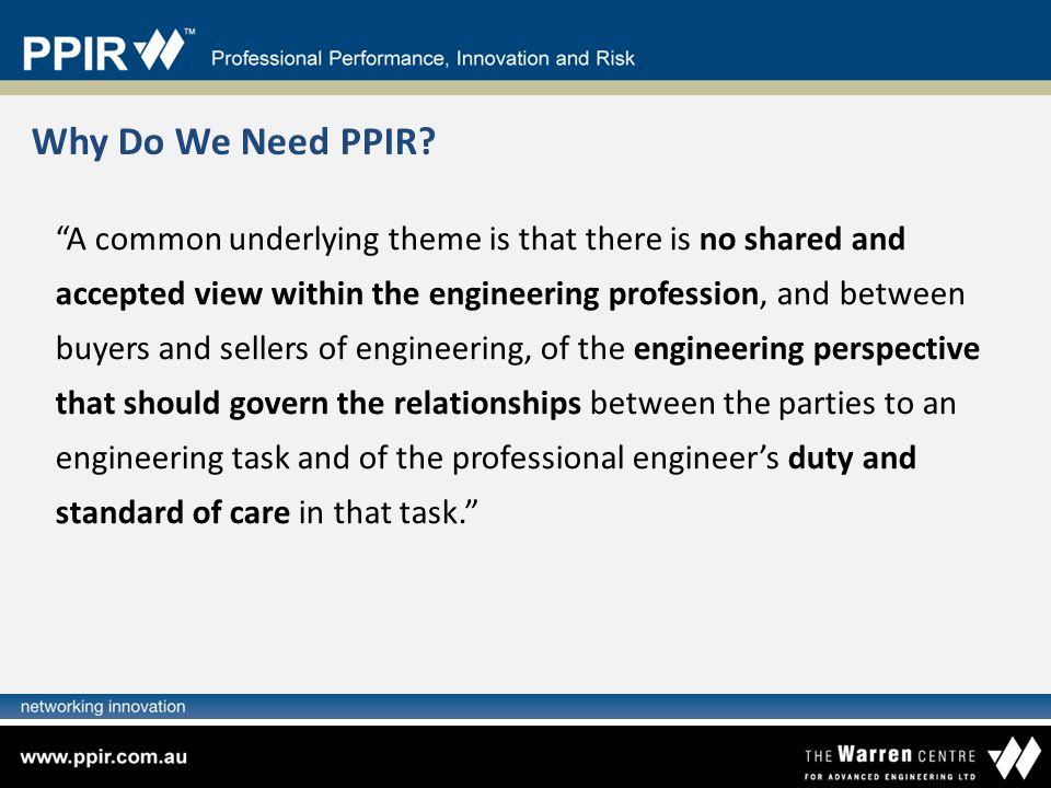 Why Do We Need PPIR