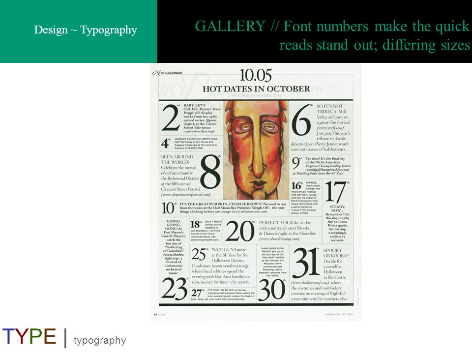 GALLERY // Font numbers make the quick reads stand out; differing sizes