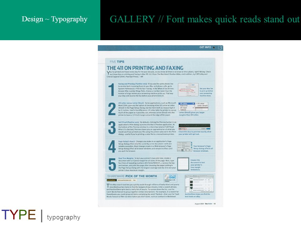 GALLERY // Font makes quick reads stand out
