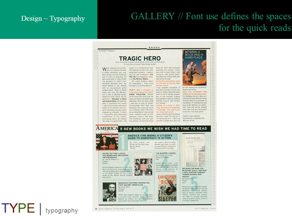 GALLERY // Font use defines the spaces for the quick reads