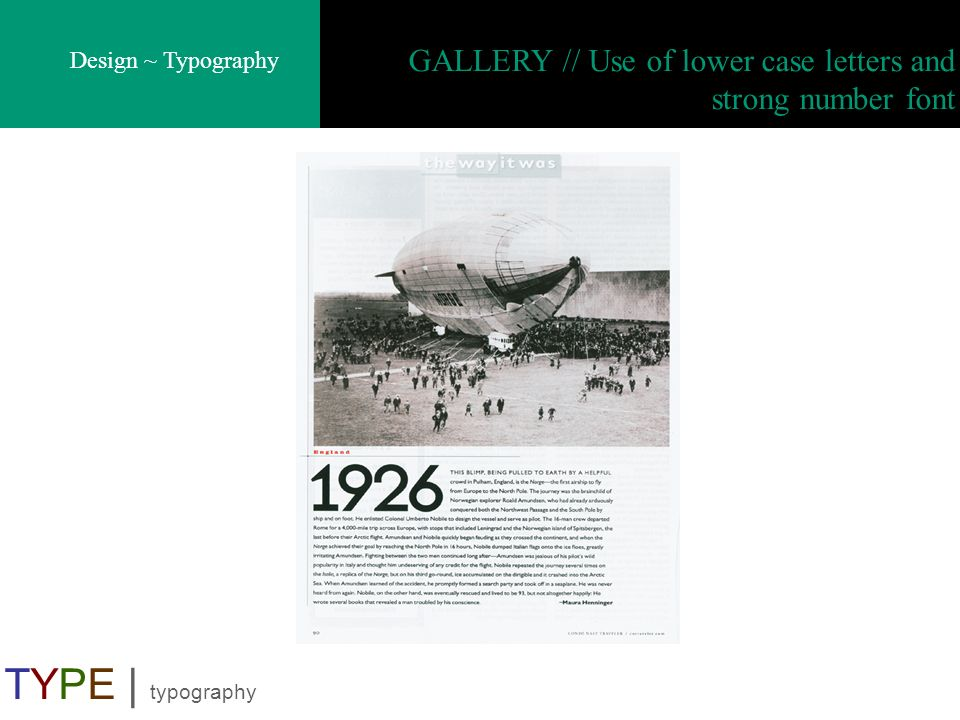 GALLERY // Use of lower case letters and strong number font