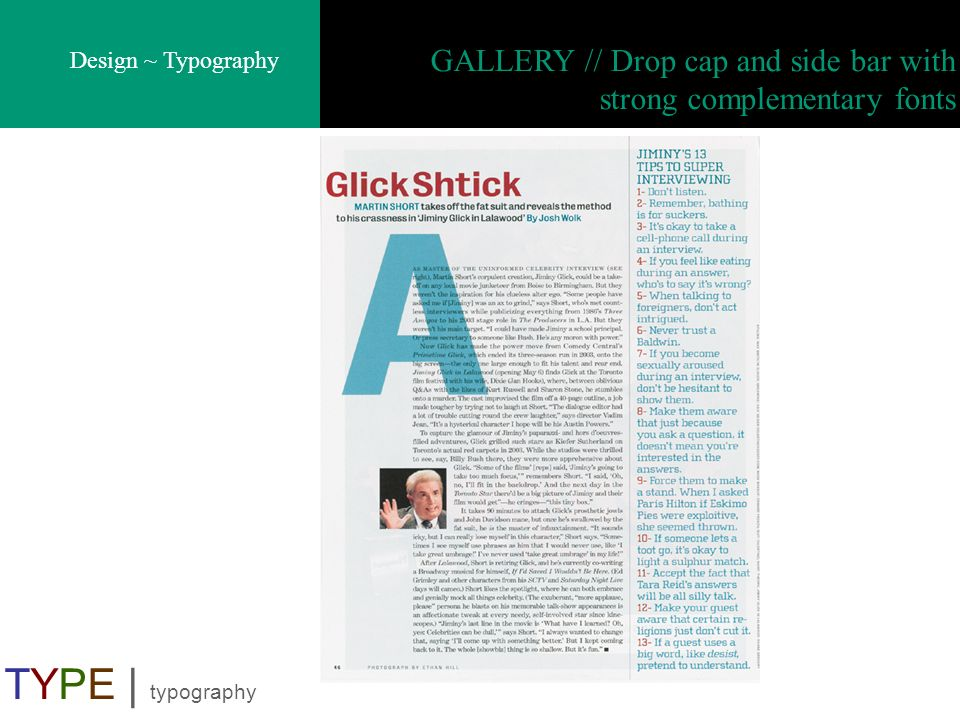 GALLERY // Drop cap and side bar with strong complementary fonts