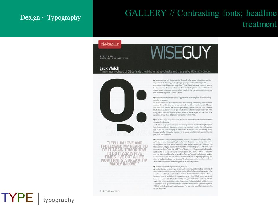 GALLERY // Contrasting fonts; headline treatment
