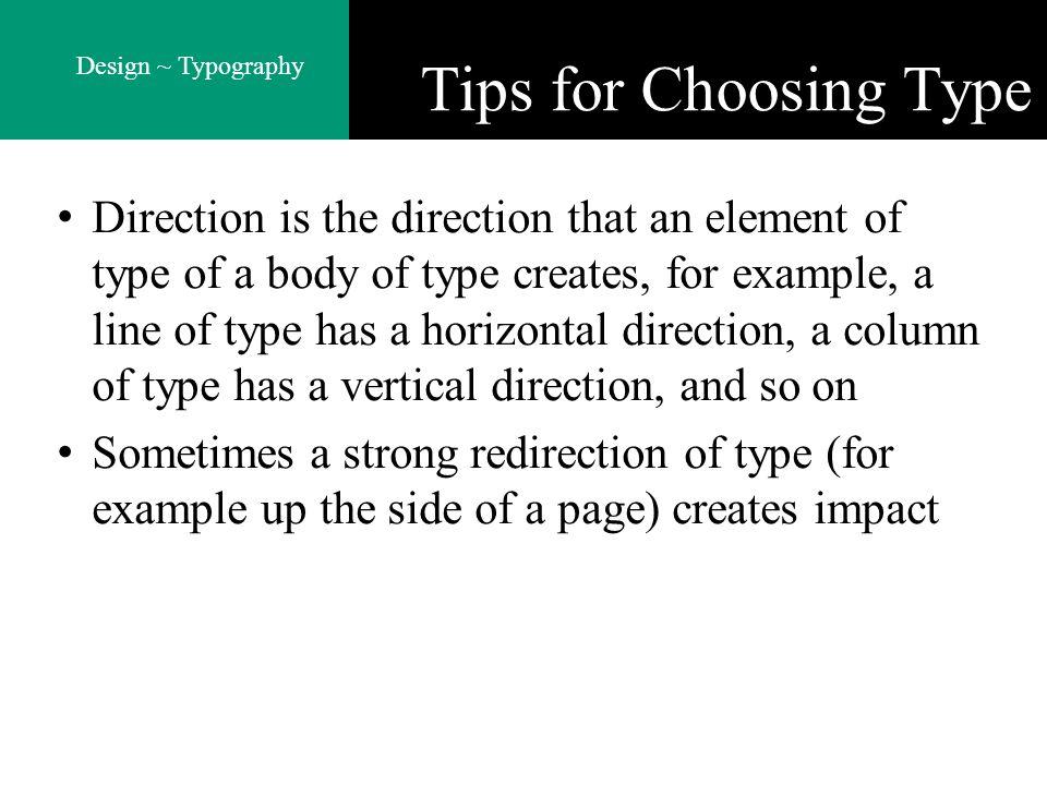 Tips for Choosing Type
