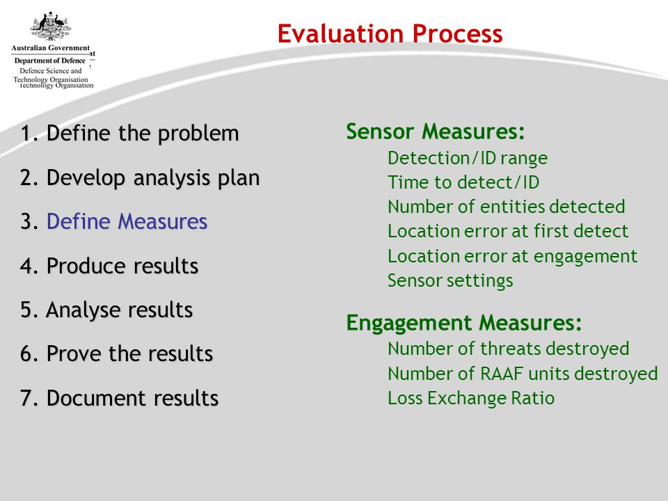 Evaluation Process 1. Define the problem Sensor Measures: