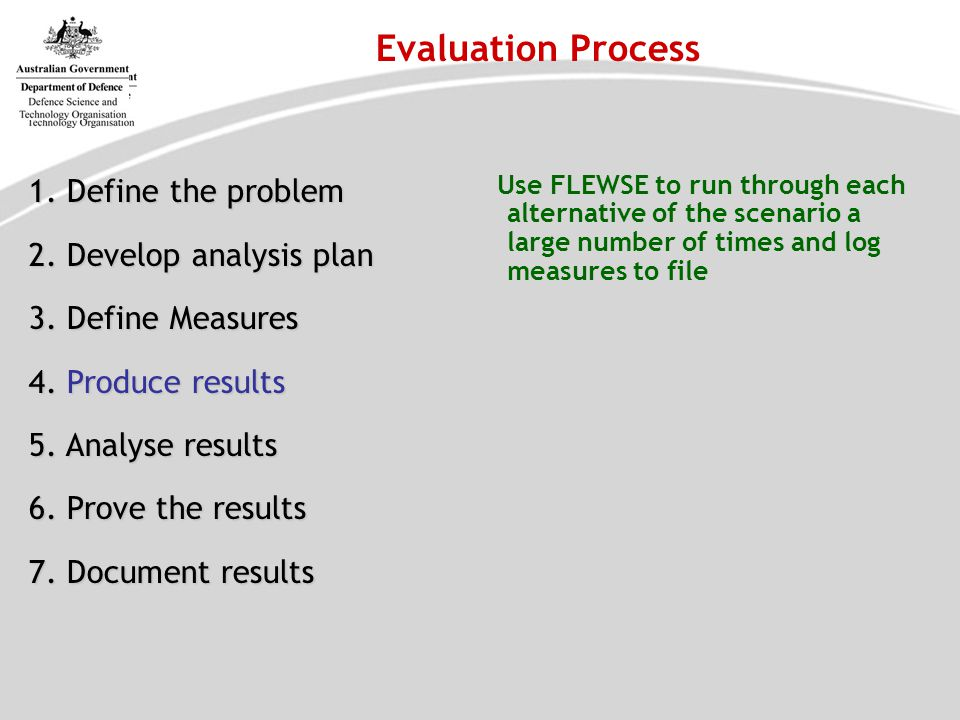 Evaluation Process 1. Define the problem 2. Develop analysis plan