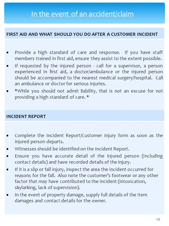 In the event of an accident/claim
