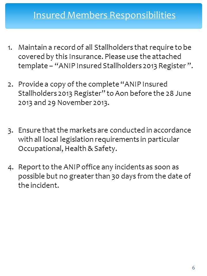 Insured Members Responsibilities