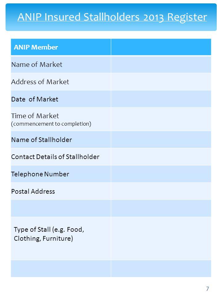 ANIP Insured Stallholders 2013 Register