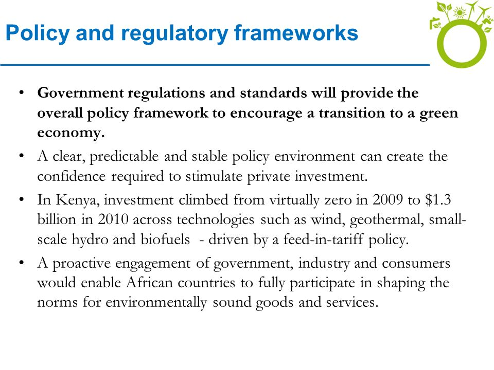 Policy and regulatory frameworks