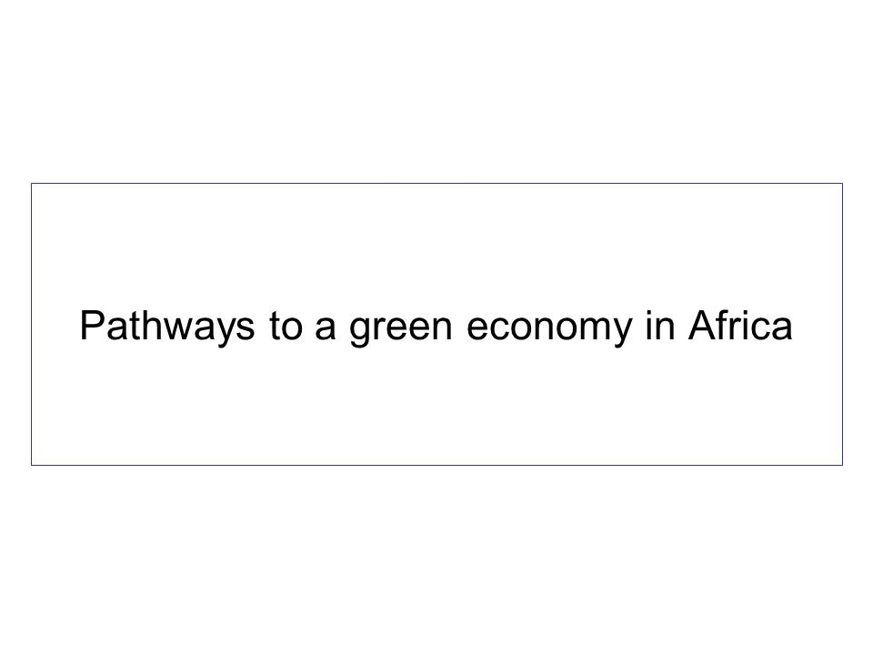 Pathways to a green economy in Africa