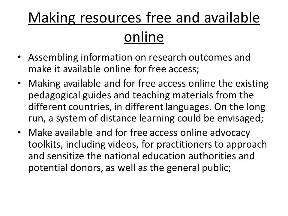 Making resources free and available online