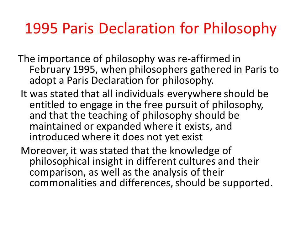 1995 Paris Declaration for Philosophy