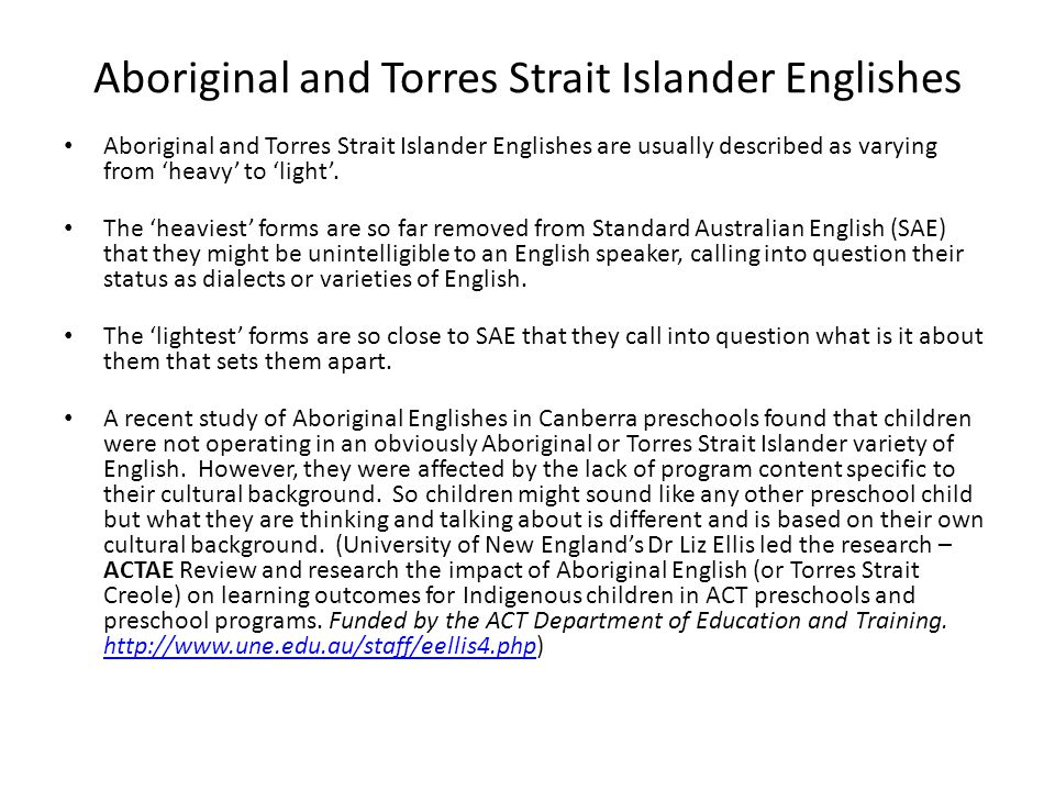Aboriginal and Torres Strait Islander Englishes